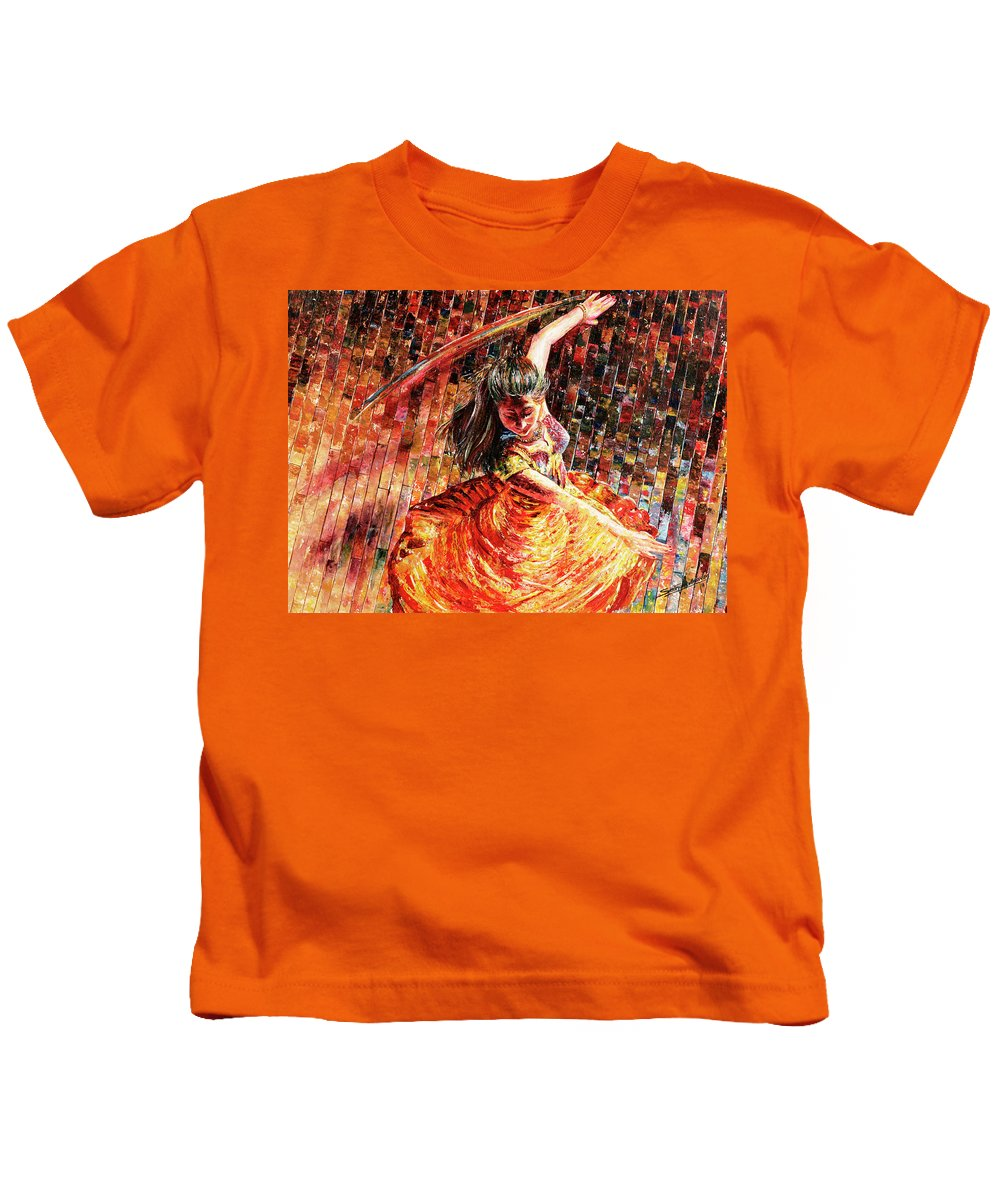 Dancer Kids T-Shirt featuring the painting Dance Of Colors by Sethu Madhavan