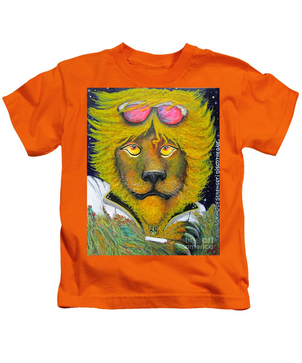 Serengeti Kids T-Shirt featuring the mixed media Dancing King Of The Serengeti Discotheque by John Foss
