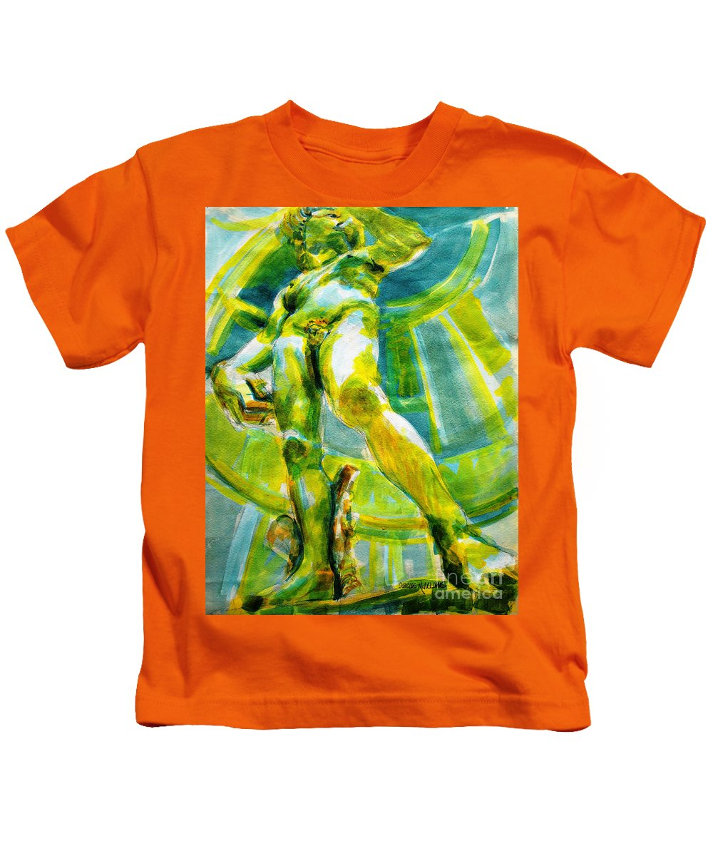 Michelangelo Kids T-Shirt featuring the painting David Revisited by Charles M Williams