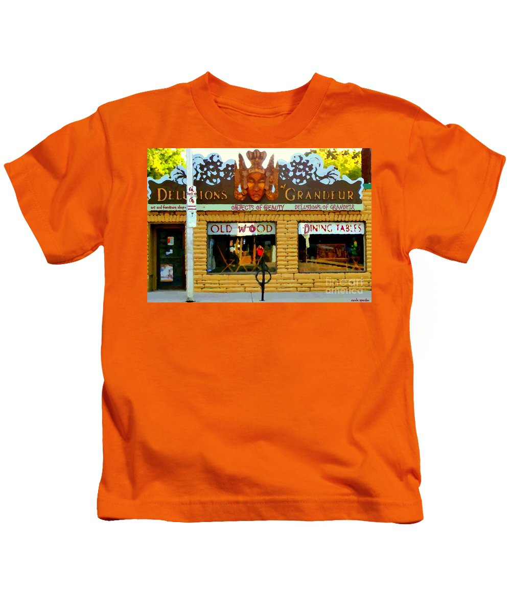 Ottawa Kids T-Shirt featuring the painting Delusions Of Grandeur Bank St Furniture Art Store On The Glebe Paintings Of Ottawa Scenes C Spandau by Carole Spandau
