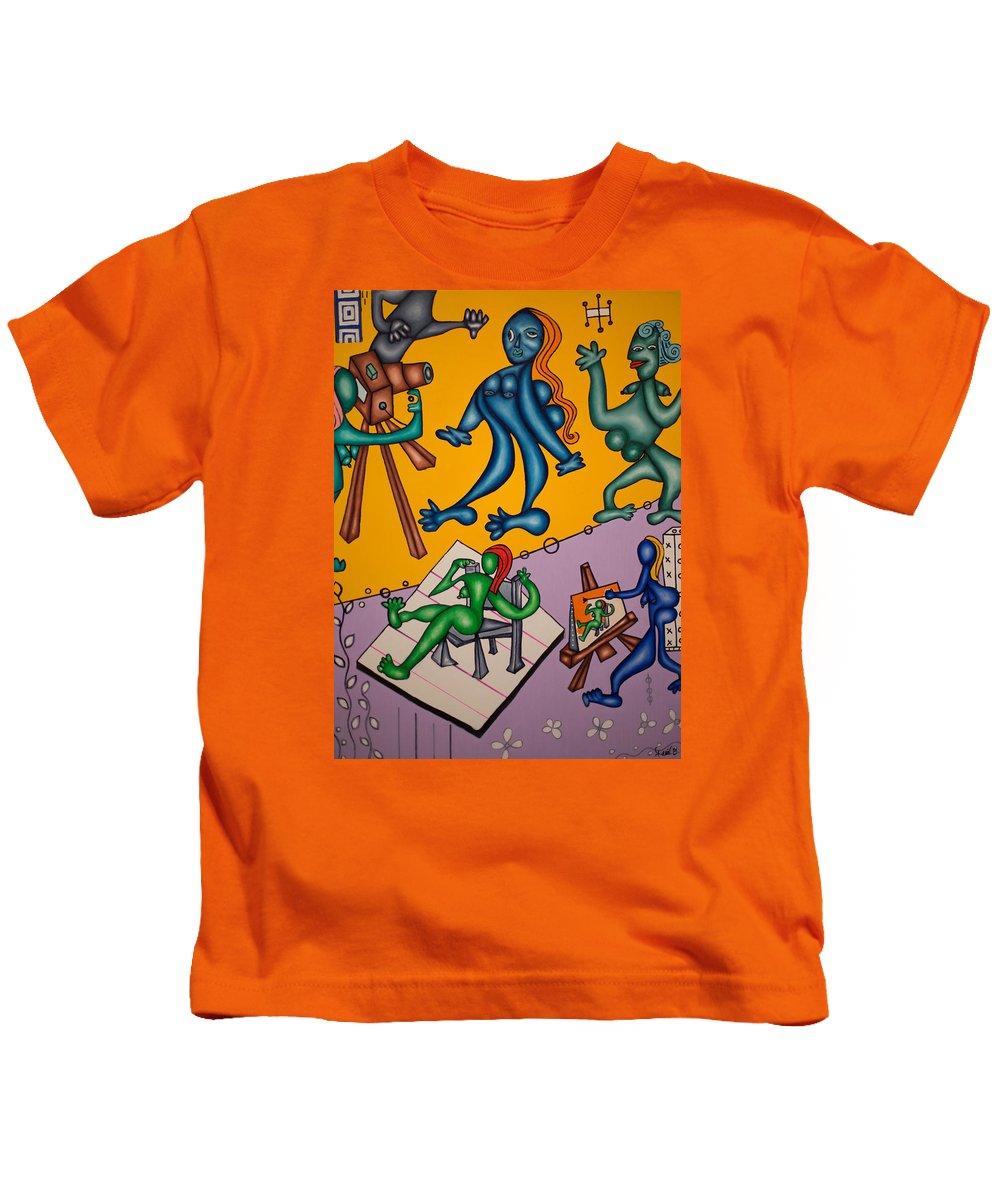 Models Kids T-Shirt featuring the painting Des Top Models by Daniel Burtea