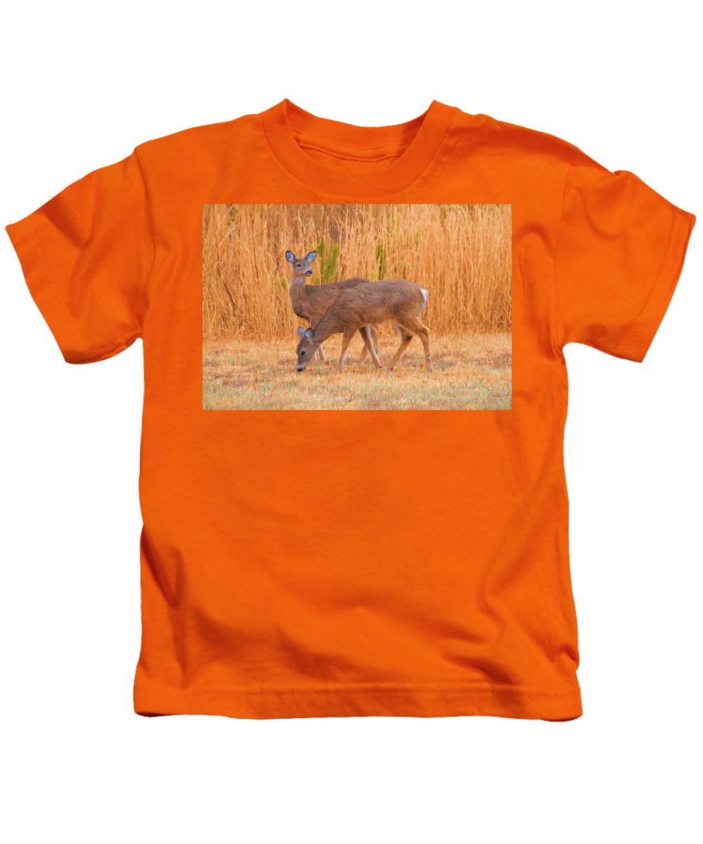 Deer Kids T-Shirt featuring the photograph Double Does by Alice Gipson