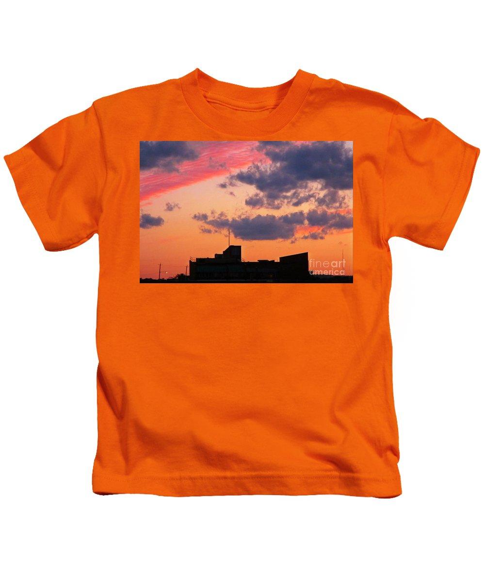 Sky Prints Kids T-Shirt featuring the photograph Dramatic Sky Dwarfs Halifax Skyline by John Malone