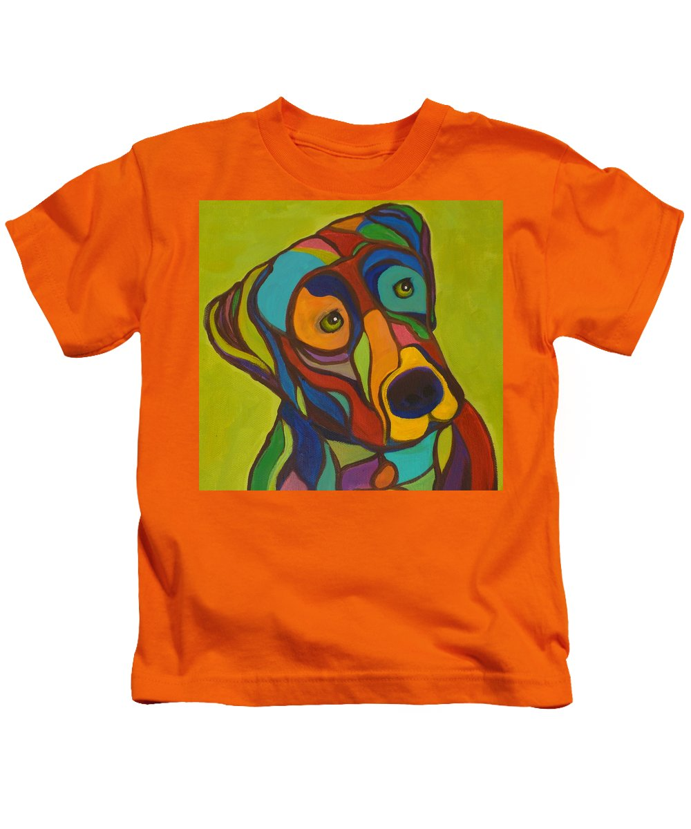 Dogs Kids T-Shirt featuring the painting Duke by Kelly Simpson