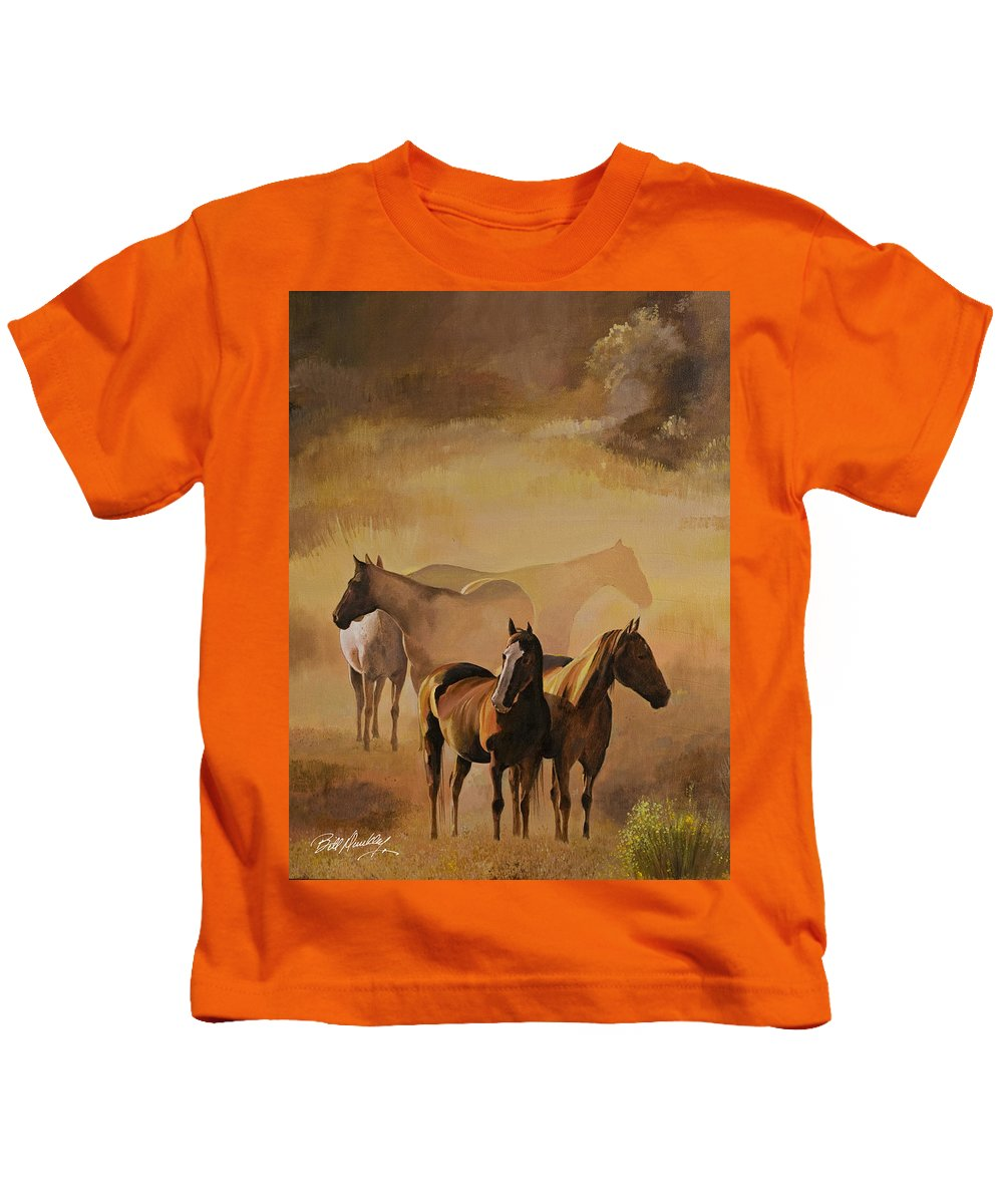 Horses Kids T-Shirt featuring the painting Dust Bowl by Bill Dunkley