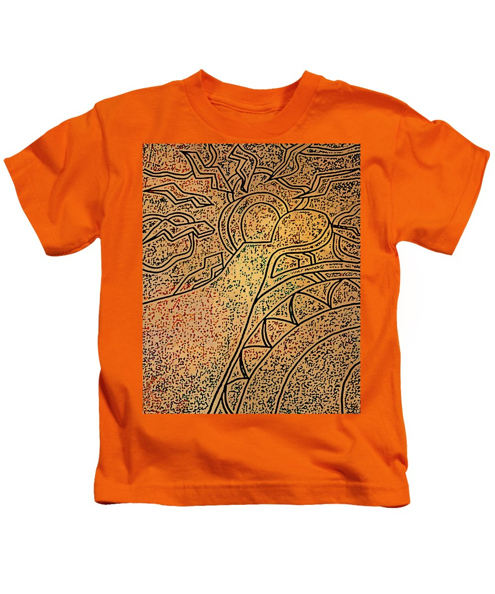 Sun Kids T-Shirt featuring the drawing Earth And Sun by Catherine Harms