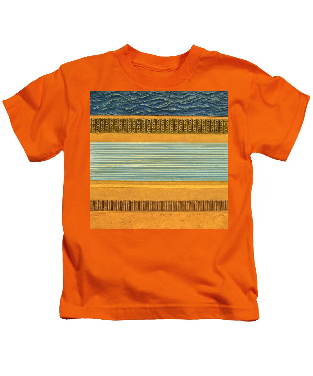 Abstract Kids T-Shirt featuring the painting Earth Layers Abstract Ll by Michelle Calkins