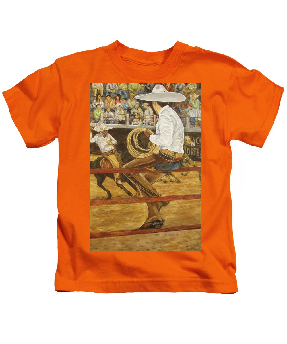 Mexican Kids T-Shirt featuring the painting El Vaquero Que Ata by Pat Haley