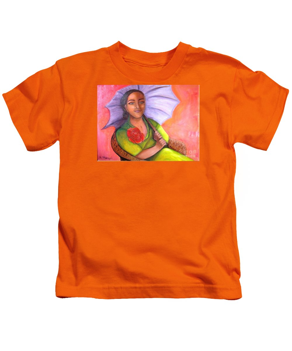 Rose Kids T-Shirt featuring the painting Enchanted Rose by Laurie Morgan