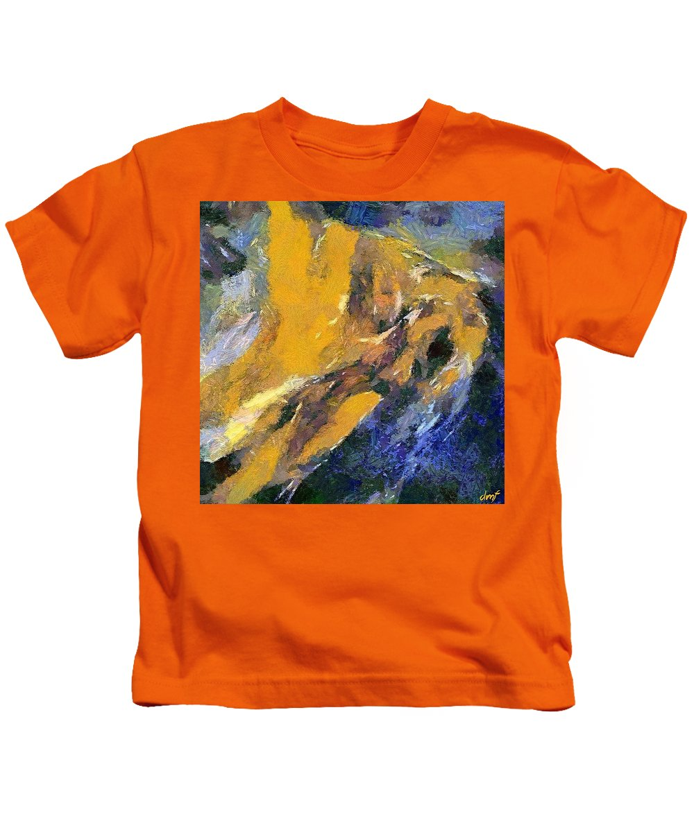 Abstract Art Kids T-Shirt featuring the painting Eruption I by Dragica Micki Fortuna