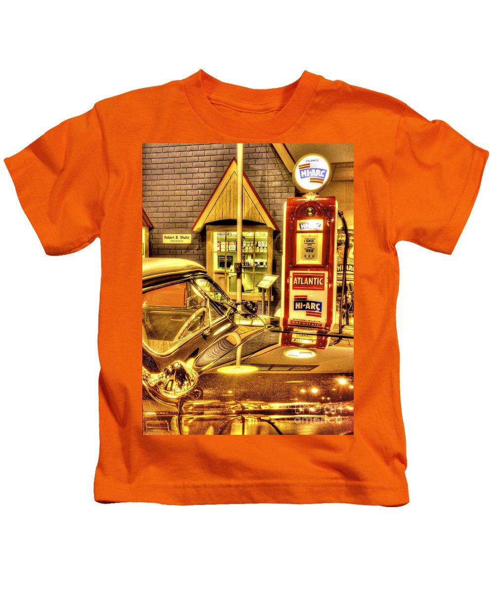 Auto Kids T-Shirt featuring the photograph Filler Up by Paul W Faust - Impressions of Light