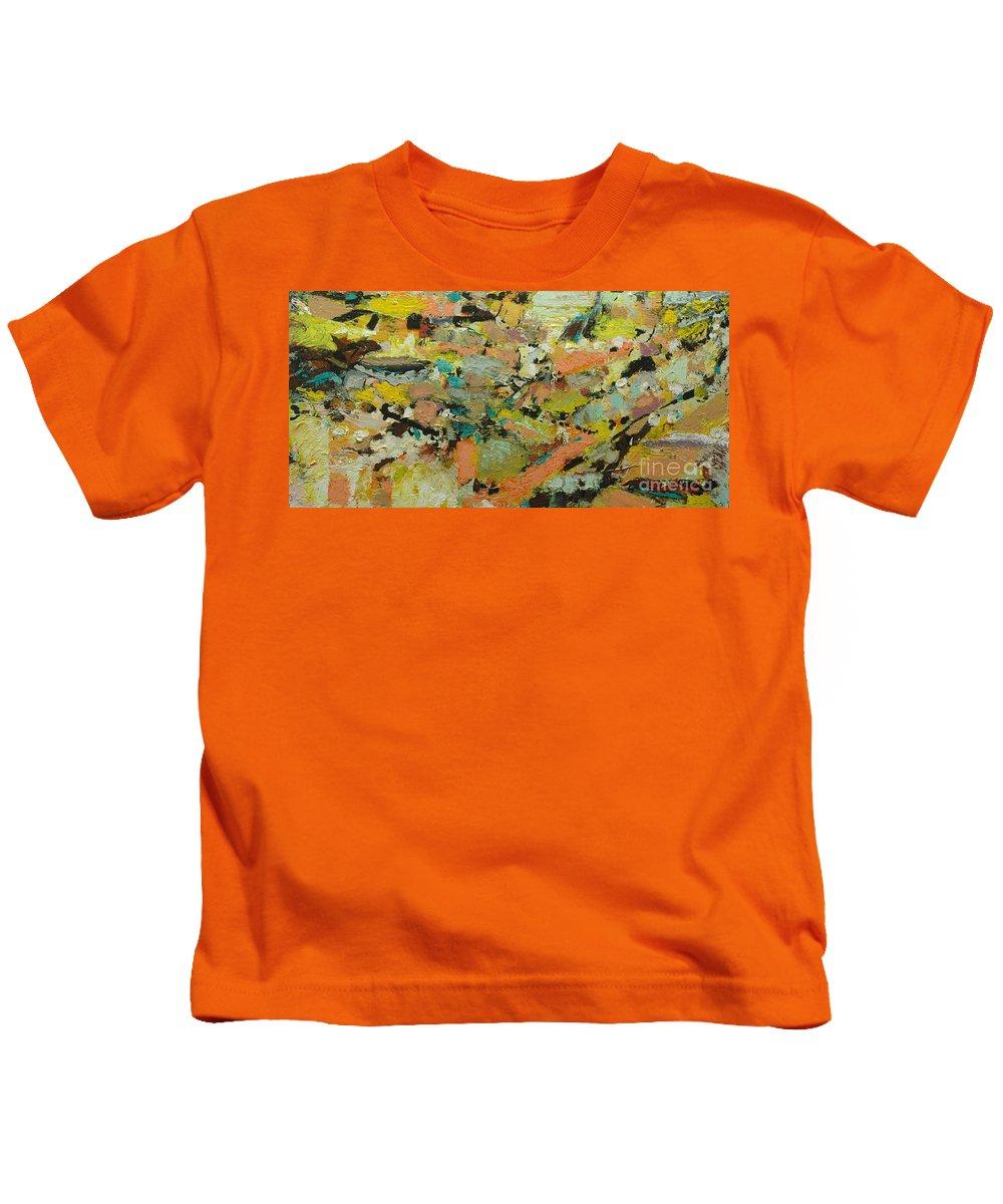 Landscape Kids T-Shirt featuring the painting Fire Bird by Allan P Friedlander