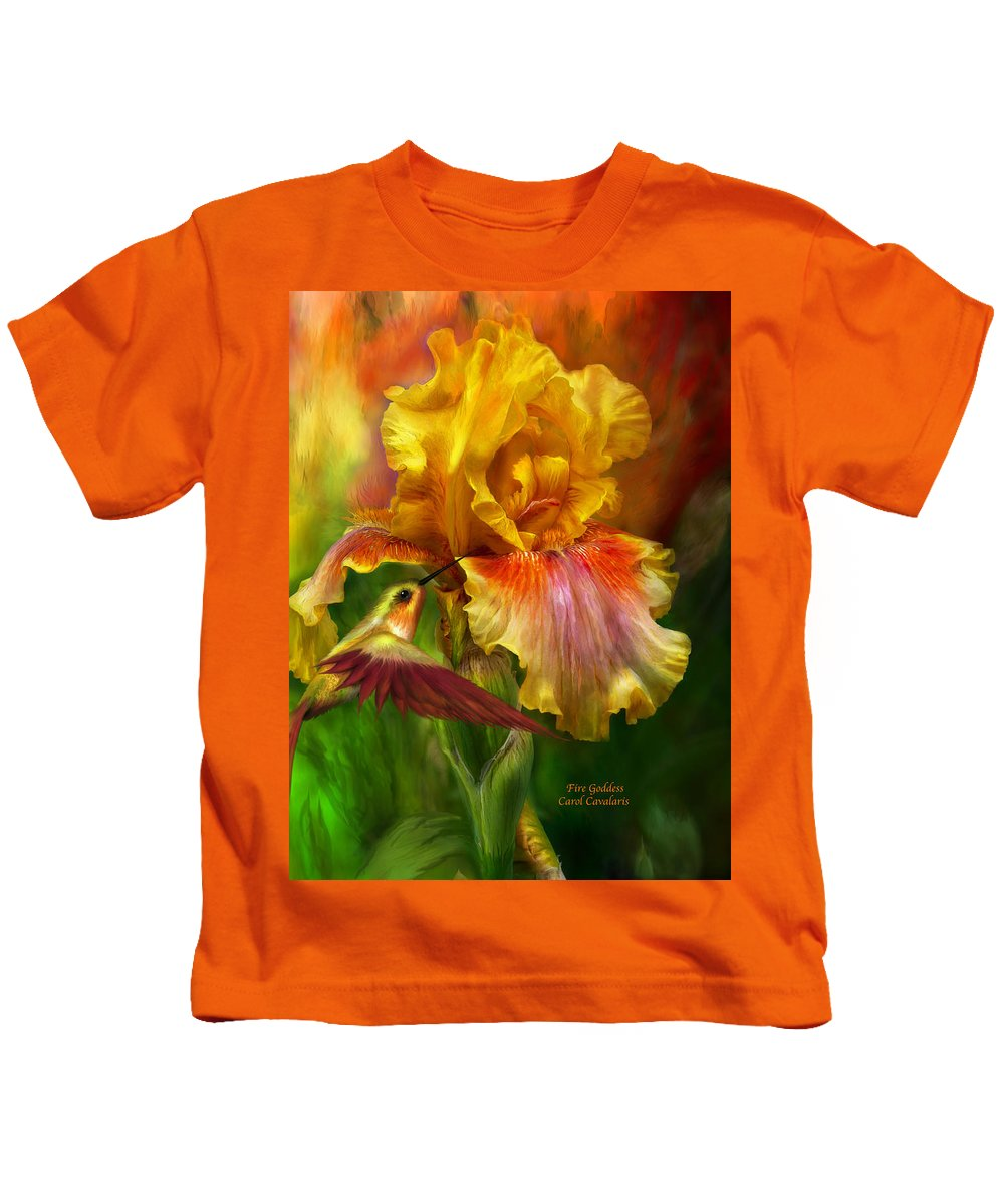 Iris Art Kids T-Shirt featuring the mixed media Fire Goddess by Carol Cavalaris