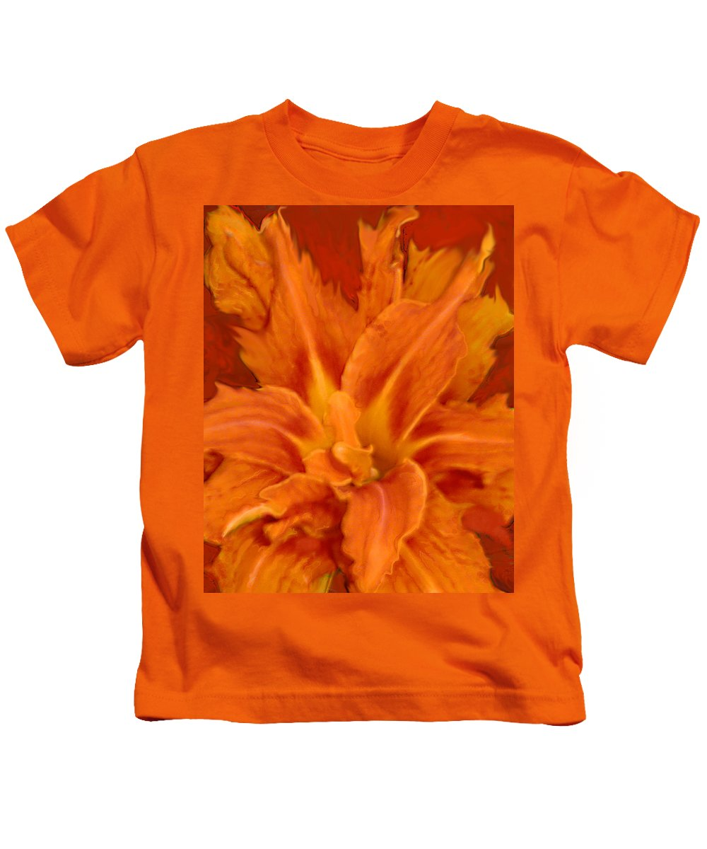 Lily Kids T-Shirt featuring the painting Fire Lily by Anne Cameron Cutri