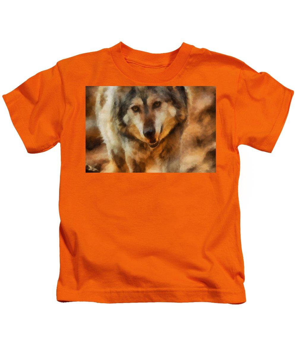 Wolf Kids T-Shirt featuring the digital art Fire Wolf by Ernie Echols