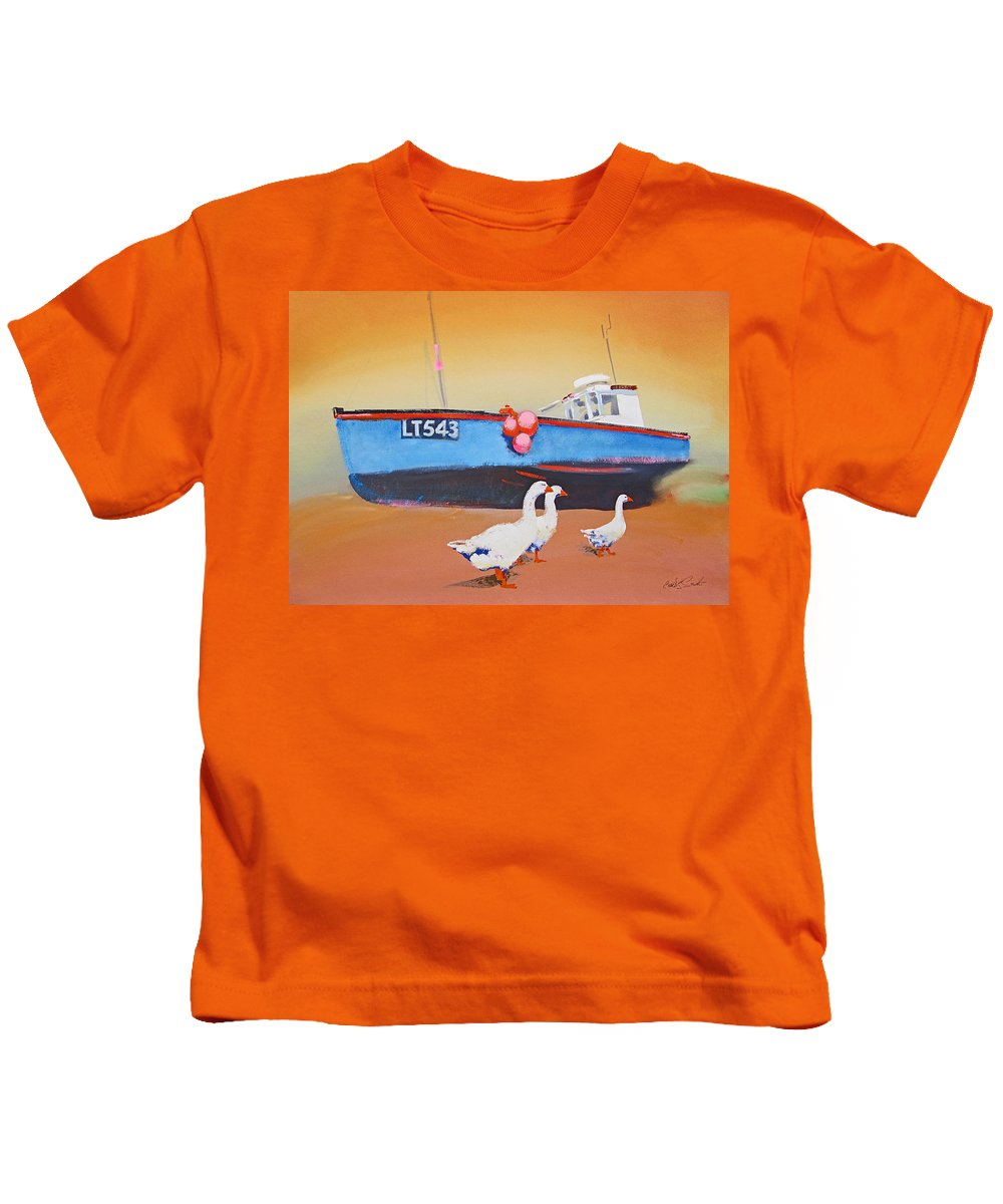 Geese Kids T-Shirt featuring the painting Fishing Boat Walberswick With Geese by Charles Stuart