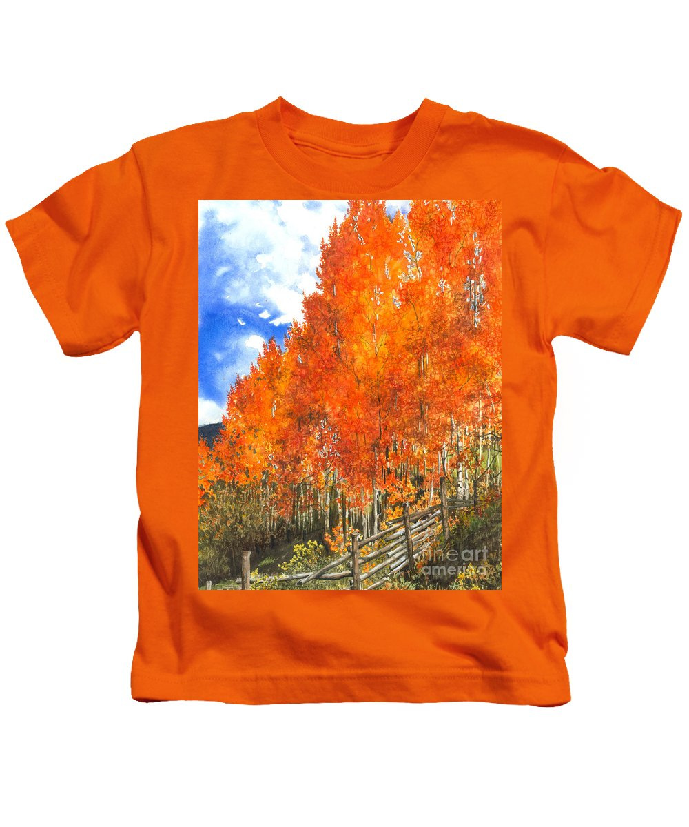 Water Color Paintings Kids T-Shirt featuring the painting Flaming Aspens by Barbara Jewell