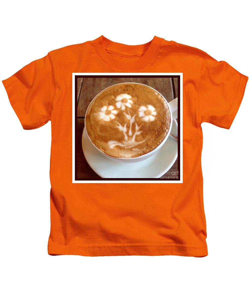 Java Kids T-Shirt featuring the photograph Flower Bouquet Latte Art by Susan Garren