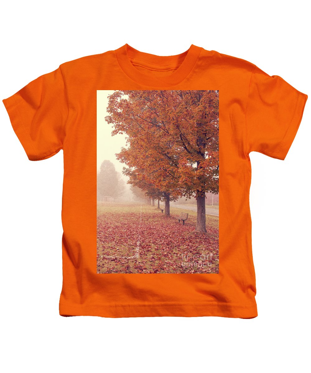 Road Kids T-Shirt featuring the photograph Foggy Autumn Morning Etna New Hampshire by Edward Fielding