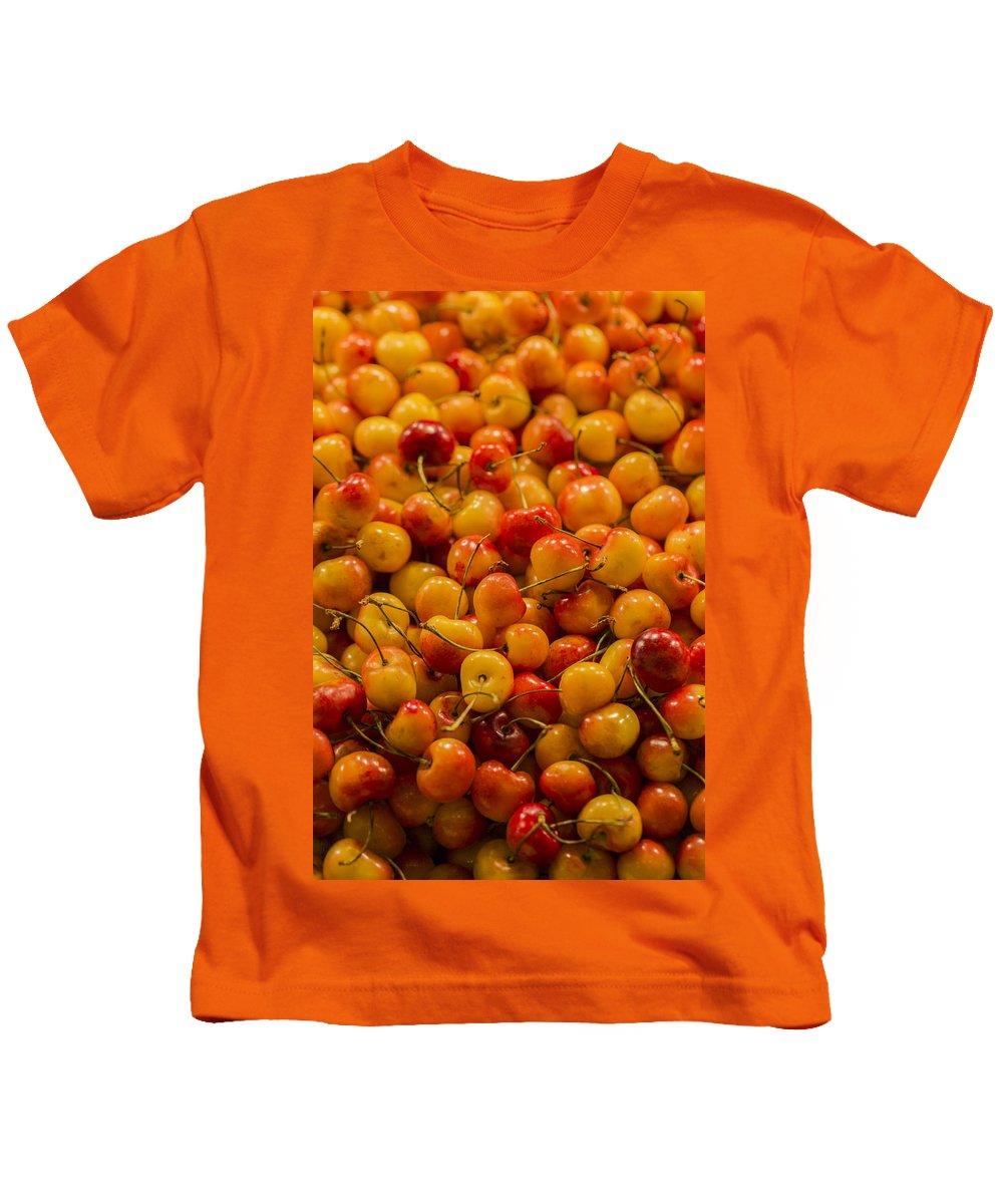 Cherry Kids T-Shirt featuring the photograph Fresh Yellow Cherries by Scott Campbell