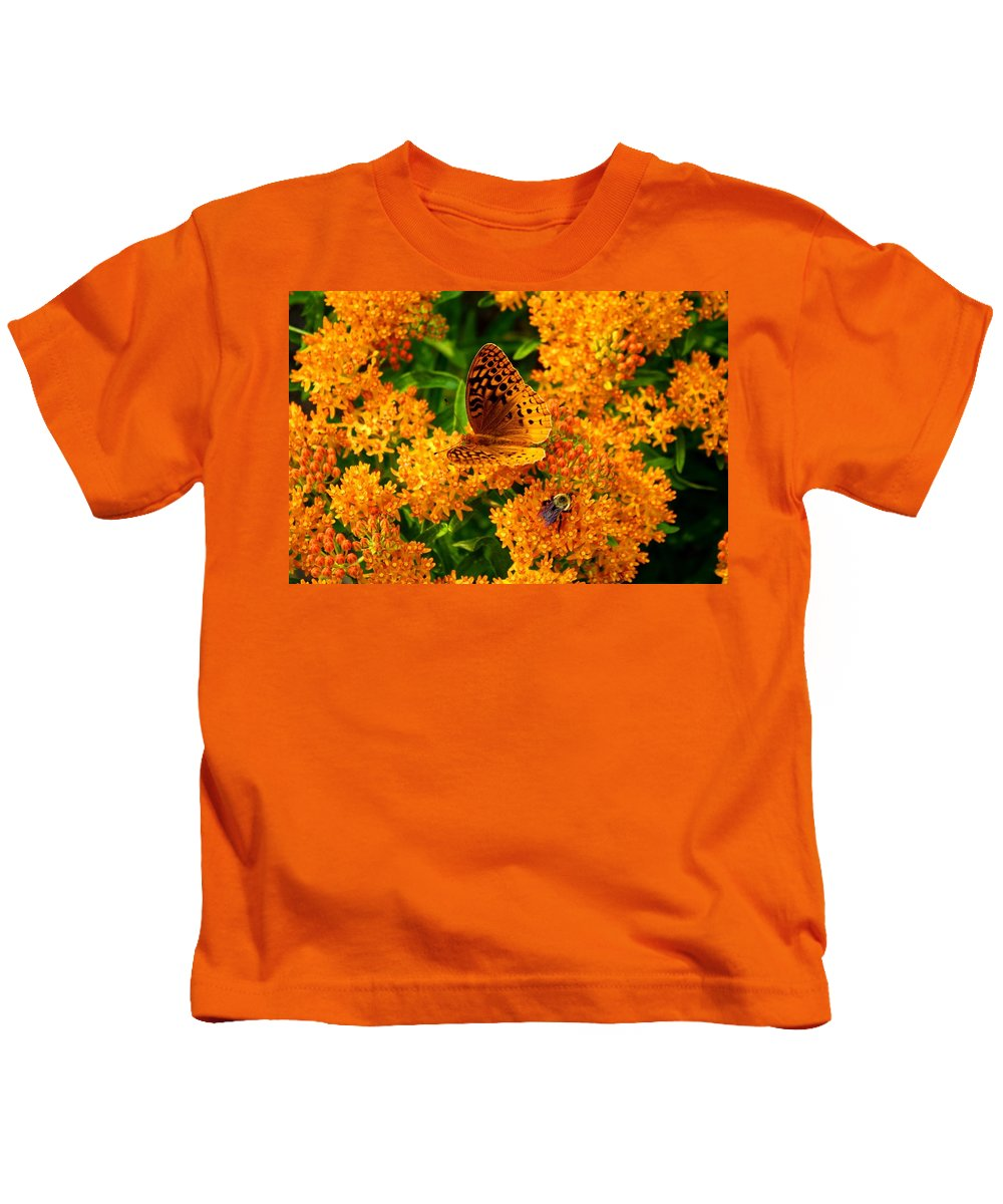 Fritillary Kids T-Shirt featuring the photograph Fritillary On Butterfly Weed by Kathryn Meyer