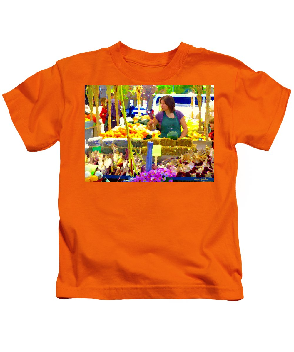 Markets Kids T-Shirt featuring the painting Fruit And Vegetable Vendor Roadside Food Stall Bazaars Grocery Market Scenes Carole Spandau by Carole Spandau