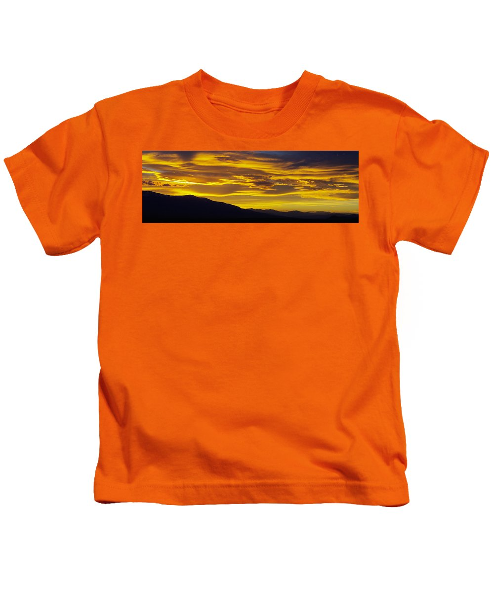 Colorado Photographs Kids T-Shirt featuring the photograph Golden Sunset by Gary Benson
