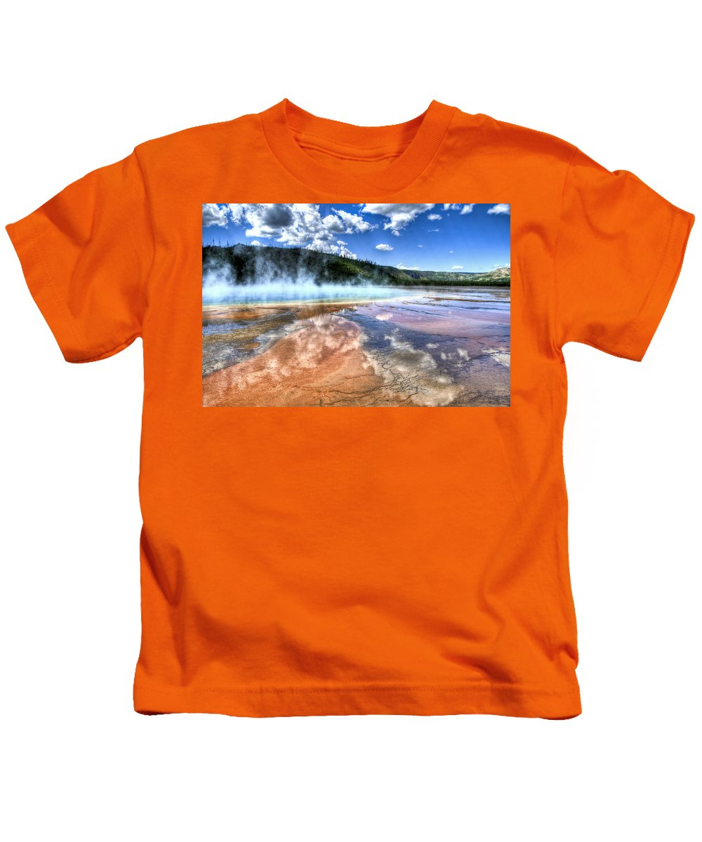 Yellowstone National Park Kids T-Shirt featuring the photograph Grand Prismatic Spring - Yellowstone by Jon Berghoff