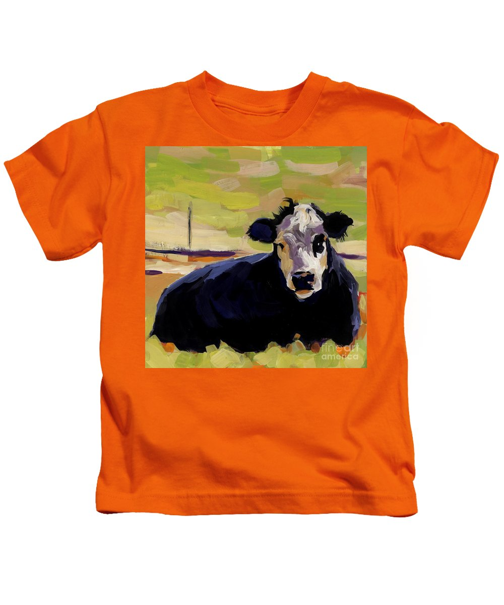 Cow Kids T-Shirt featuring the painting Greens by Molly Poole