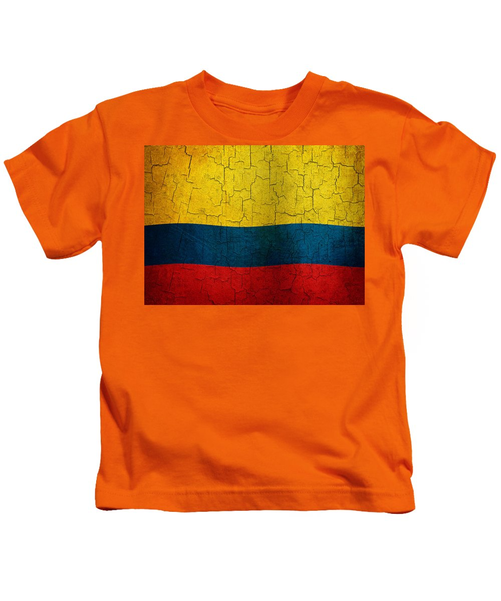 Aged Kids T-Shirt featuring the digital art Grunge Colombia Flag by Steve Ball