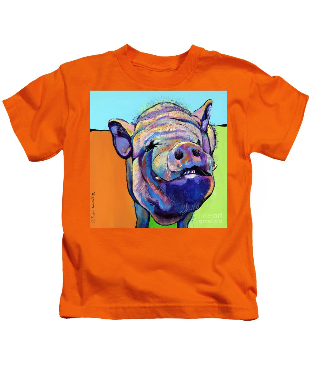 Pat Saunders-white Canvas Prints Kids T-Shirt featuring the painting Grunt  by Pat Saunders-White