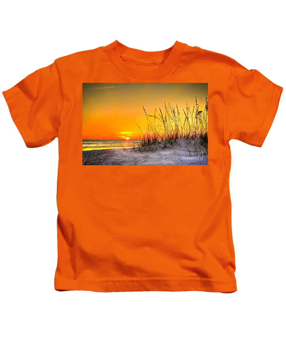 Gulf Of Mexico Kids T-Shirt featuring the photograph Gulf Sunset by Marvin Spates