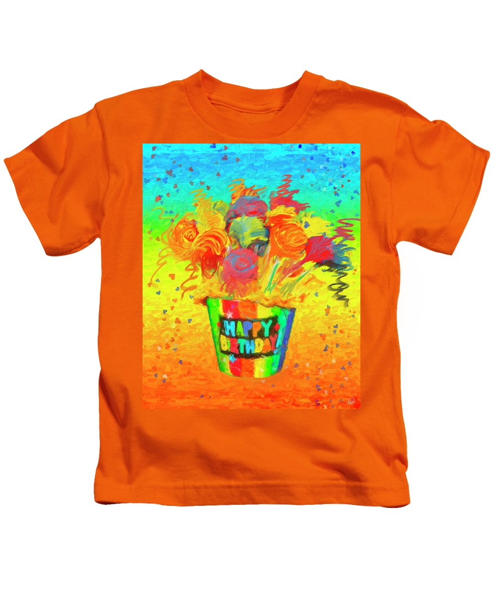 Flower Kids T-Shirt featuring the painting Happy Birthday by Angela Stanton
