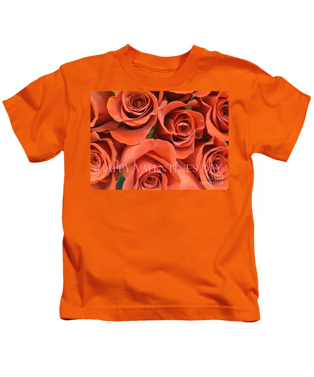 Roses Kids T-Shirt featuring the photograph Happy Valentine's Day Pink Lettering On Orange Roses by Barbie Corbett-Newmin