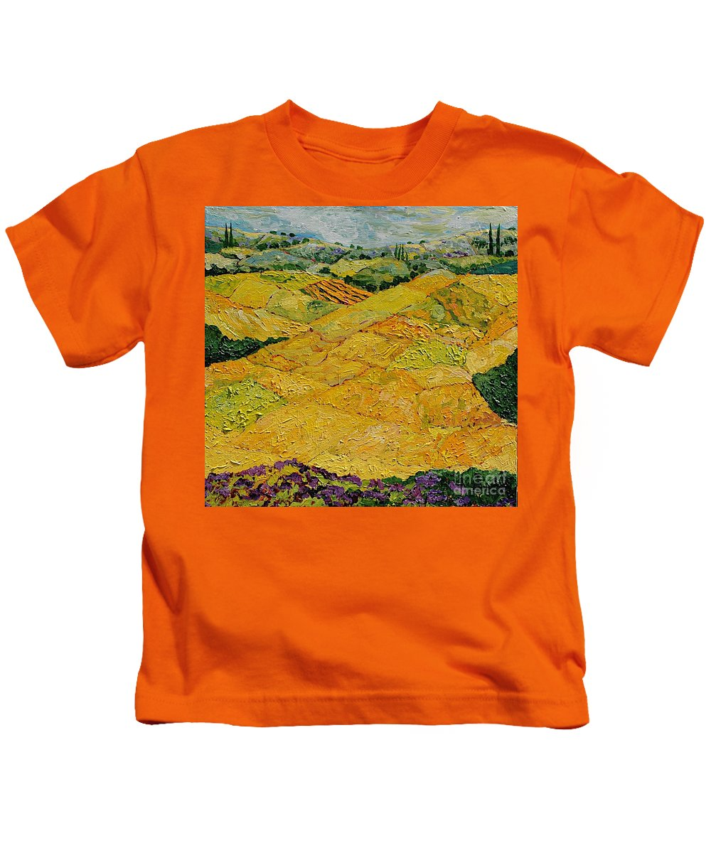 Landscape Kids T-Shirt featuring the painting Harvest Joy by Allan P Friedlander