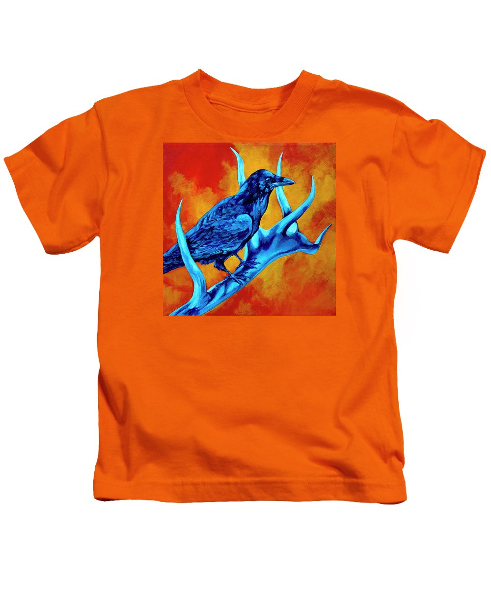 Elk Kids T-Shirt featuring the painting Hitchhiker by Derrick Higgins