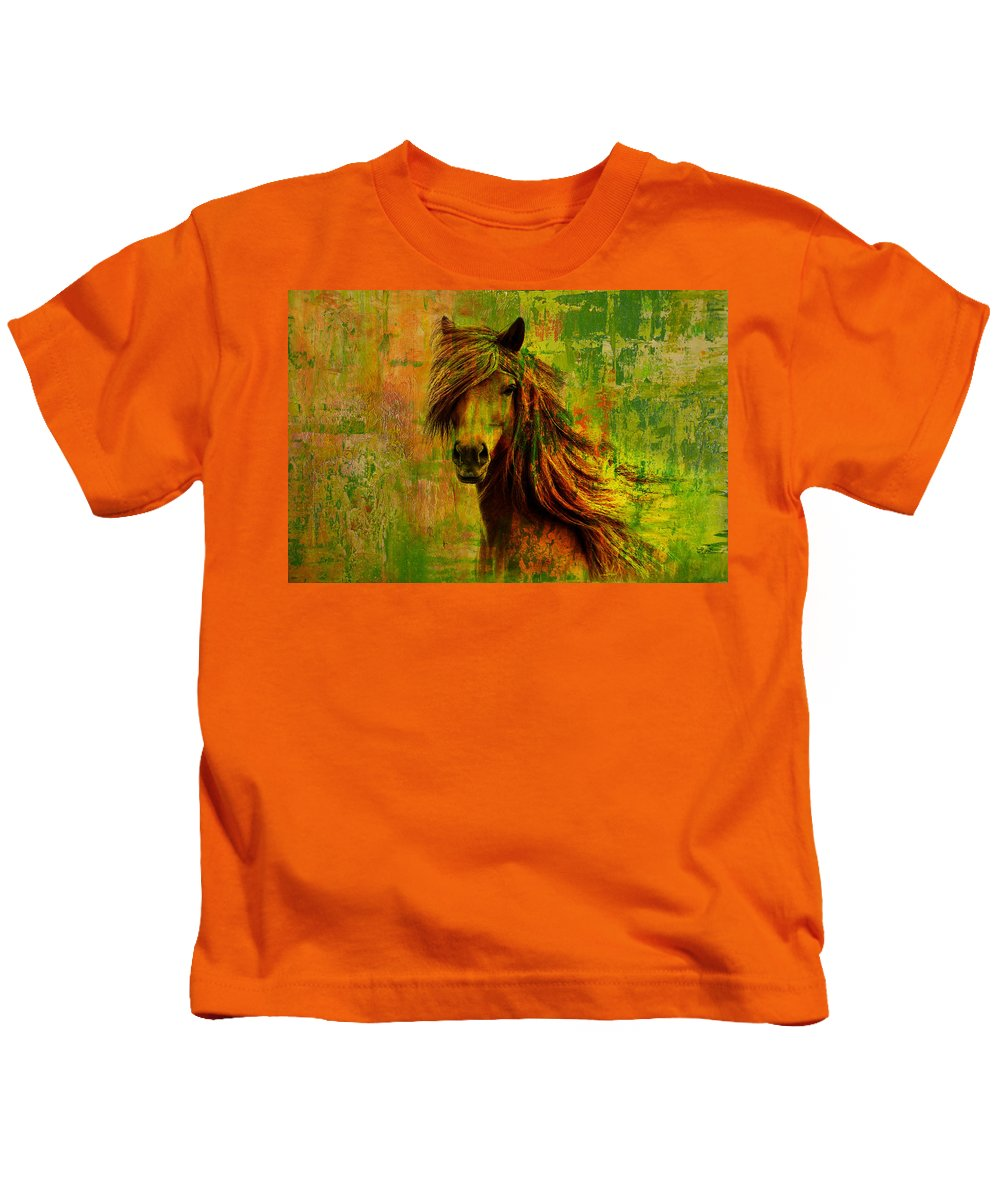 Horse Paintings 001 Kids T Shirt For Sale By Catf