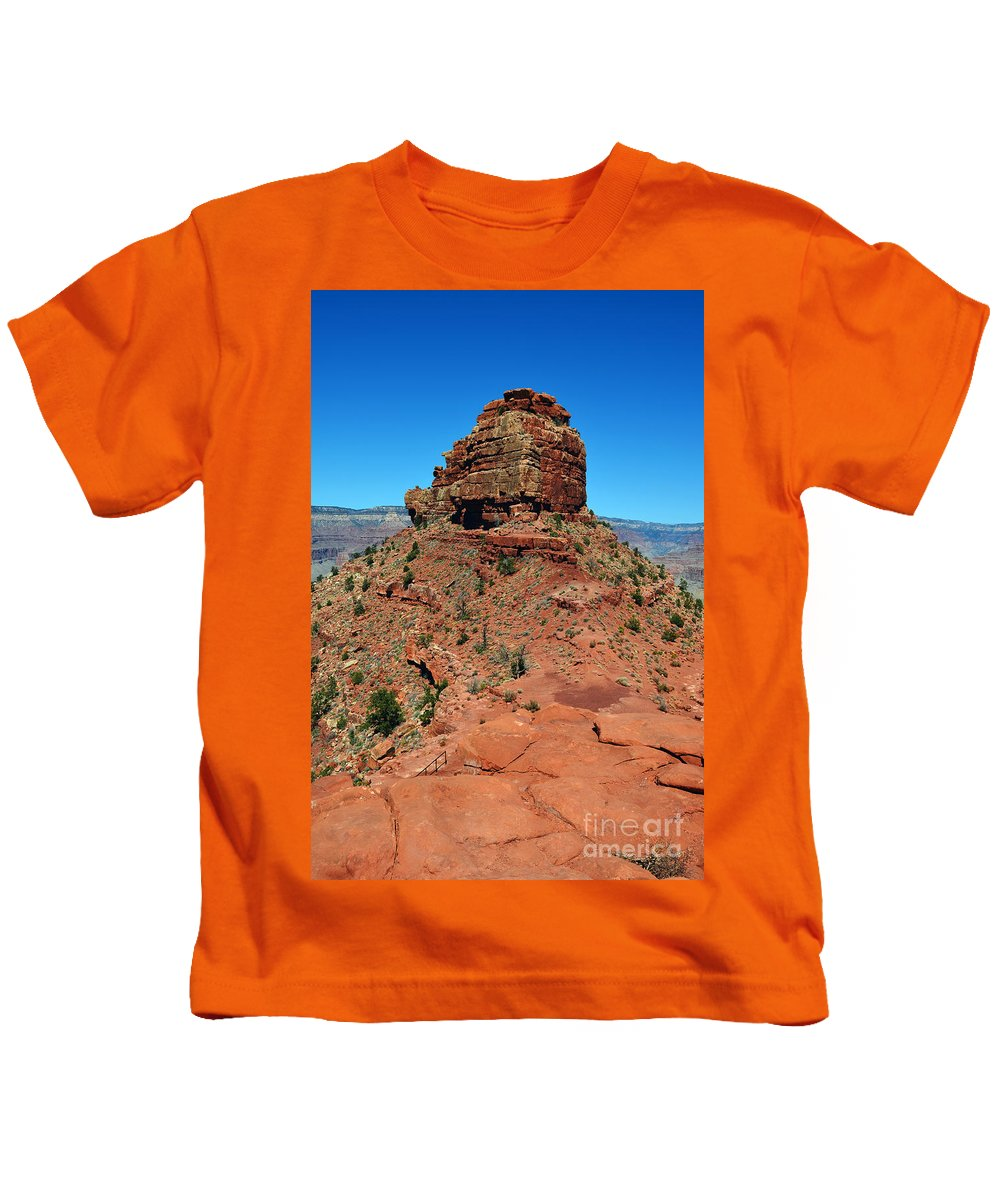 Grand Canyon Kids T-Shirt featuring the photograph Kaibab Trail Red Cap Rock Formation Grand Canyon National Park by Shawn O'Brien