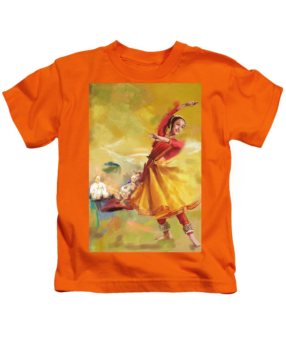 Dancer Kids T-Shirt featuring the painting Kathak Dance by Catf