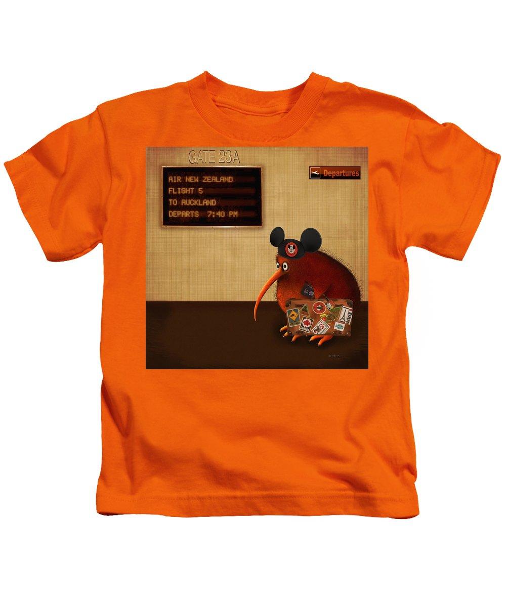 Kiwi Kids T-Shirt featuring the digital art Kev's Oe Return by Marlene Watson