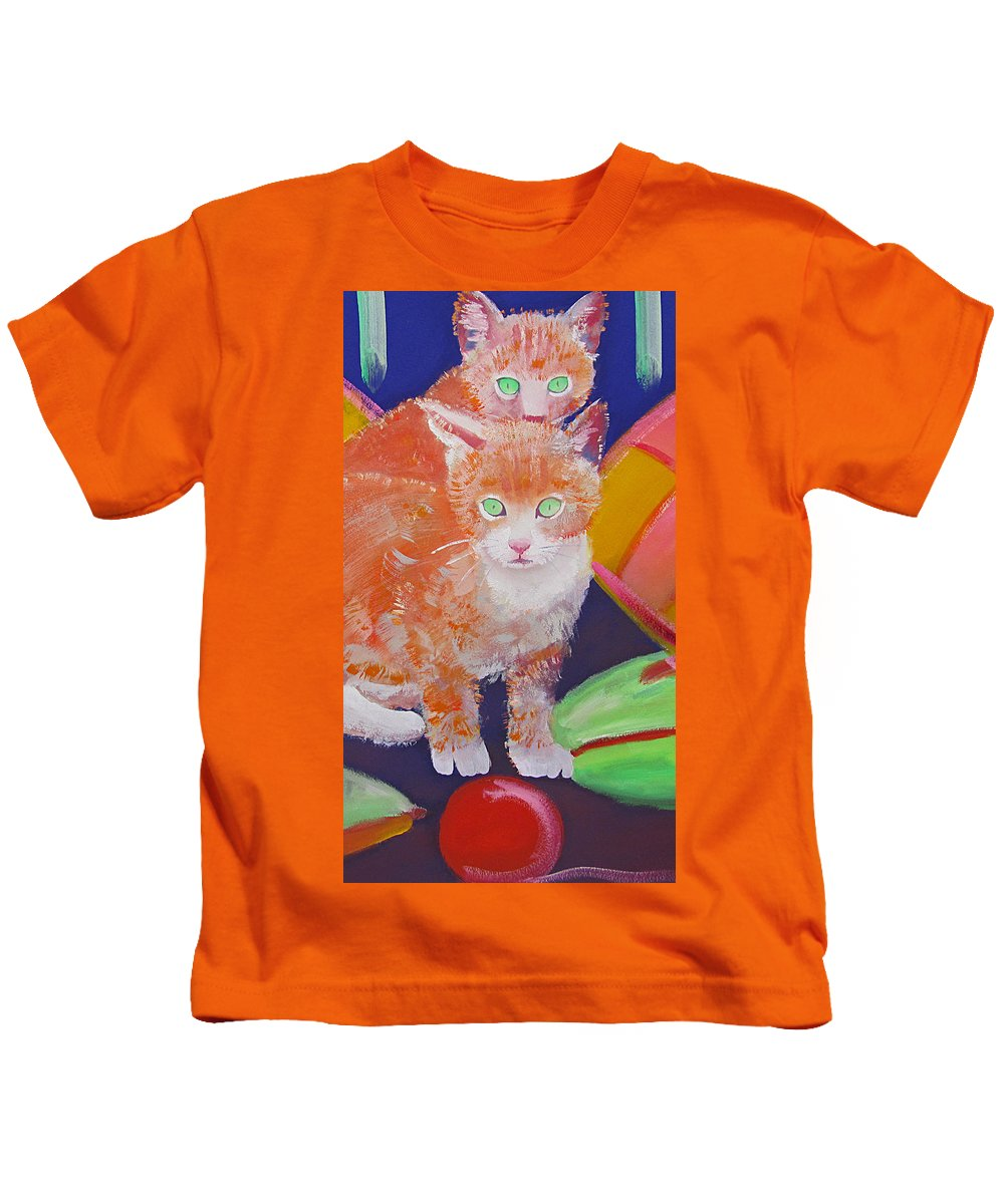 Kittens Kids T-Shirt featuring the painting kittens With A Ball of Wool by Charles Stuart
