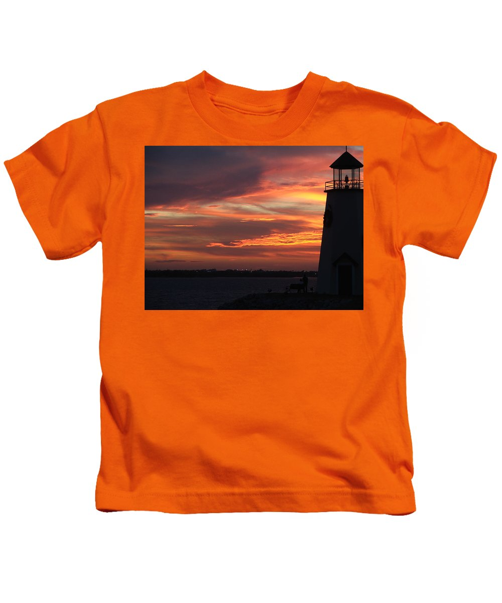 Lighthouse Kids T-Shirt featuring the photograph Lake Hefner Lighthouse by Stacie Adams