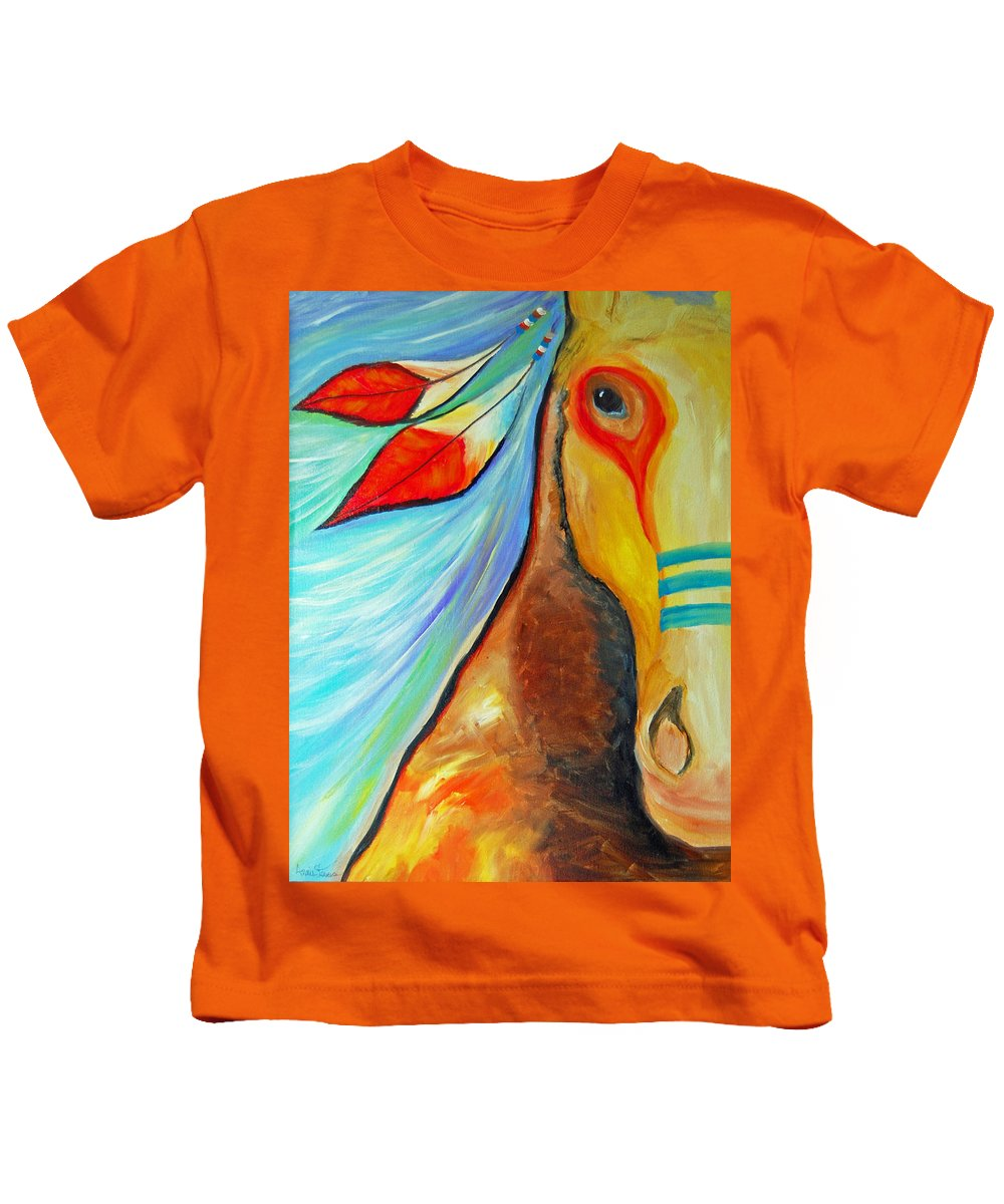 Native American Art Kids T-Shirt featuring the painting Lakota Grace by Annie Stevens