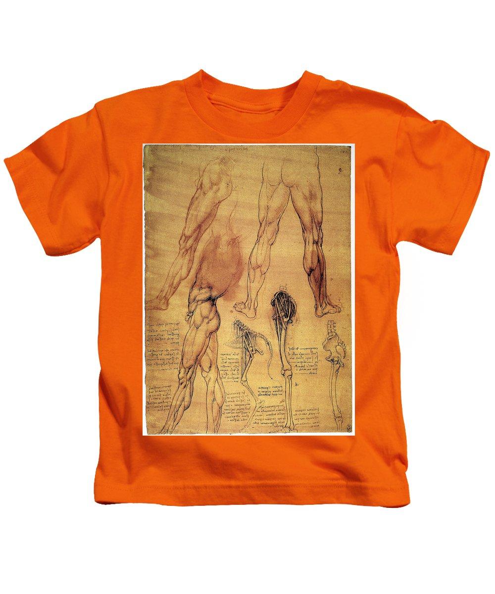 1508 Kids T-Shirt featuring the photograph Leonardo: Legs, C1508 by Granger