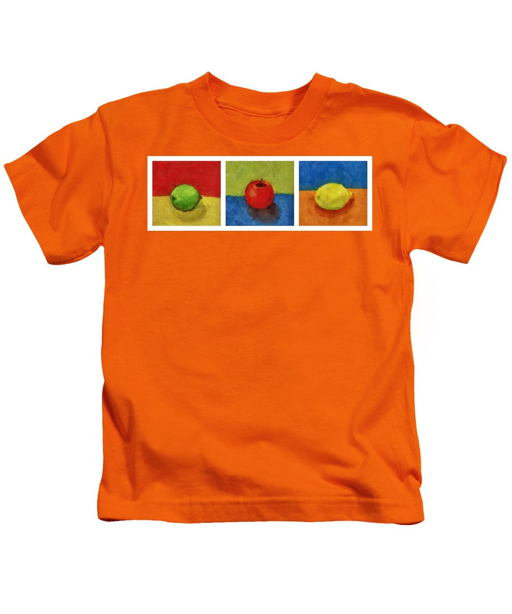 Lime Kids T-Shirt featuring the painting Lime Apple Lemon by Michelle Calkins