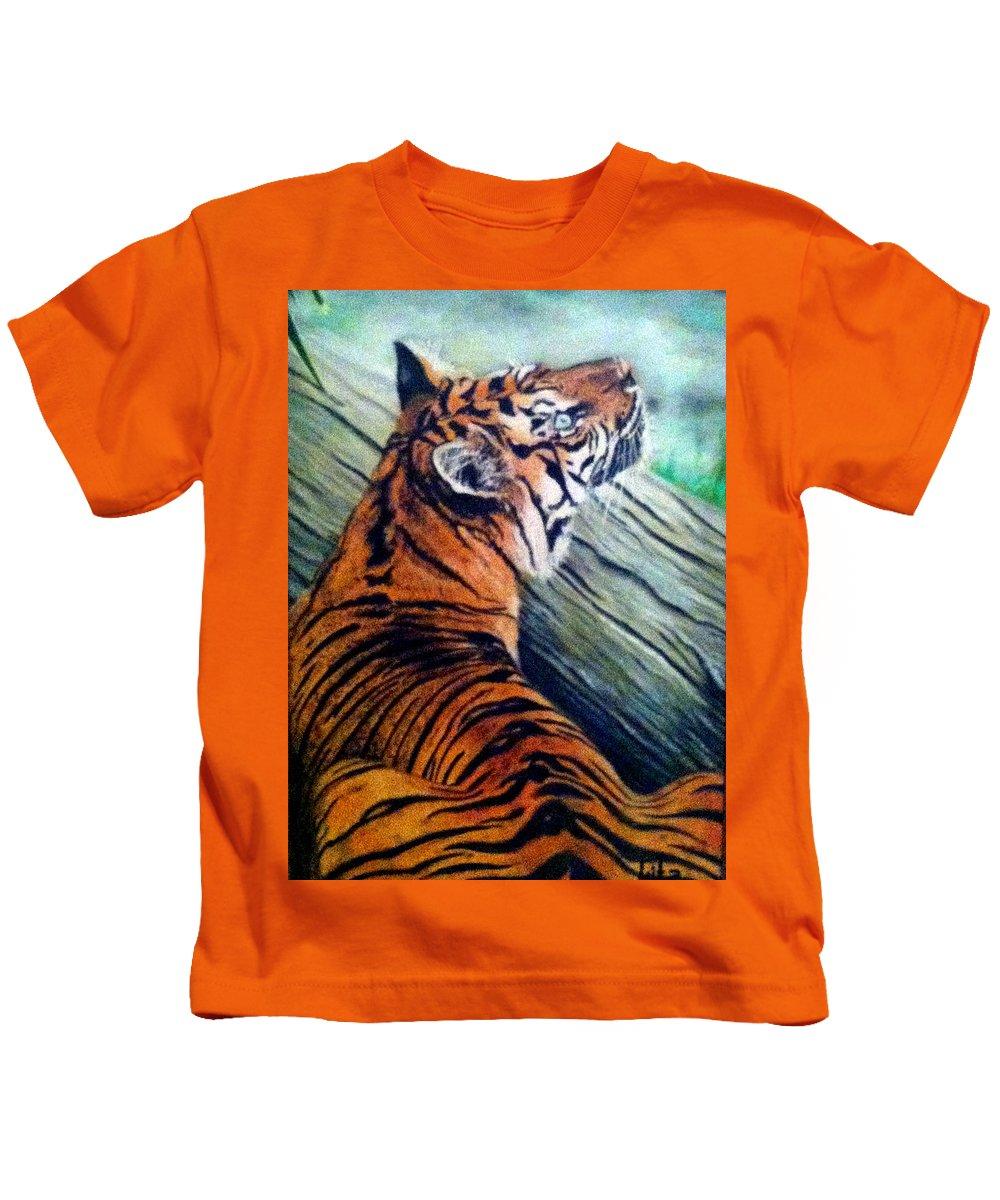 Tiger Kids T-Shirt featuring the painting Little Rest by Lita Yulia Litvinova