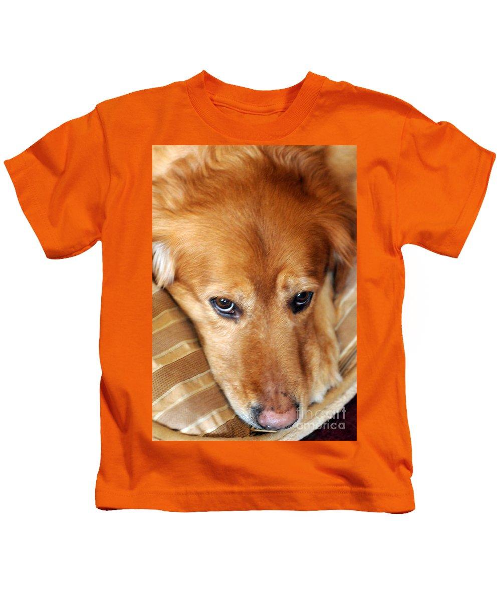 Dog Kids T-Shirt featuring the photograph Lizzy Golden Retriever by Kathleen Struckle