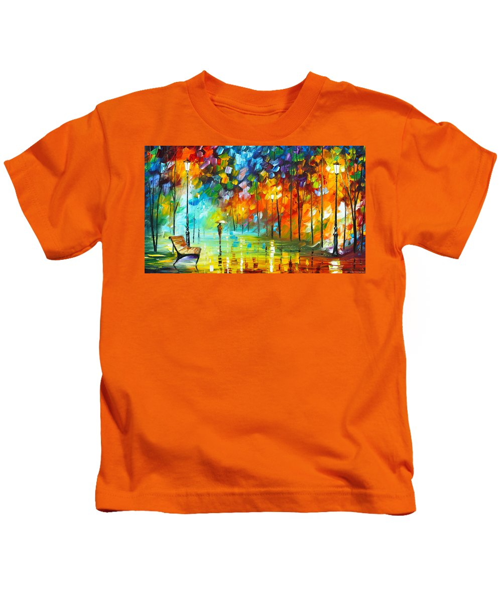 Park Kids T-Shirt featuring the painting Lonely Stroll 3 by Leonid Afremov