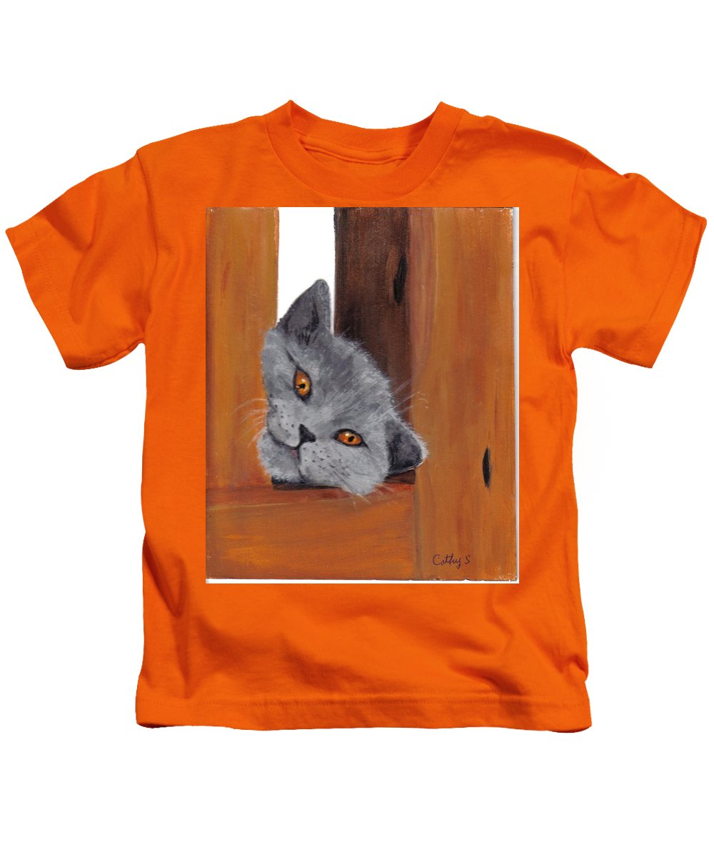 Cats Kids T-Shirt featuring the painting Looking For Me by Catherine Swerediuk