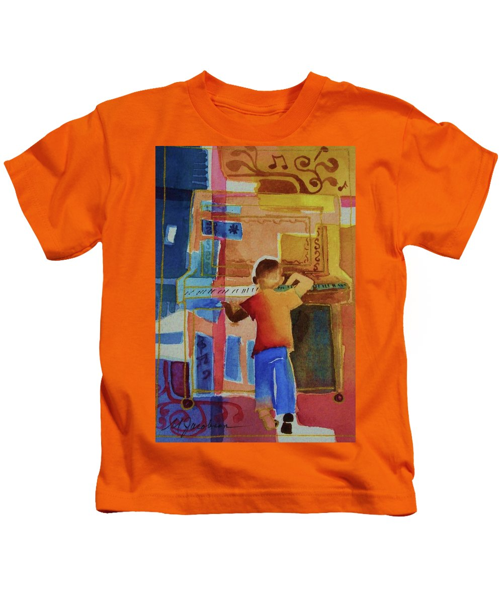Piano Kids T-Shirt featuring the mixed media Love A Piano 1 by Marilyn Jacobson